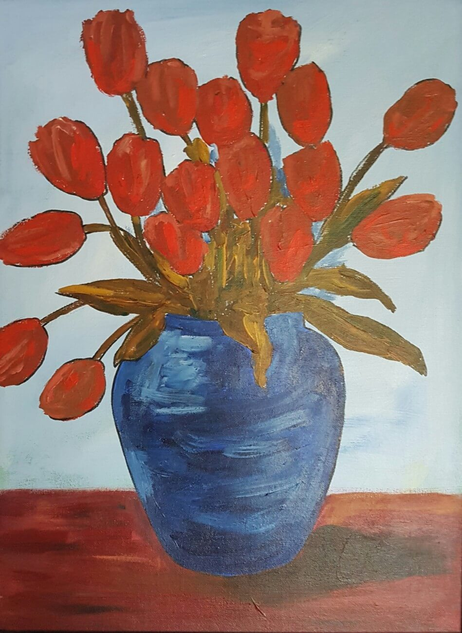 Red Petal Bouque In Blue Vase
